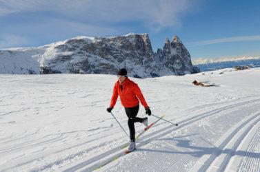 Langlaufen auf der Seiser Alm in den Dolomiten