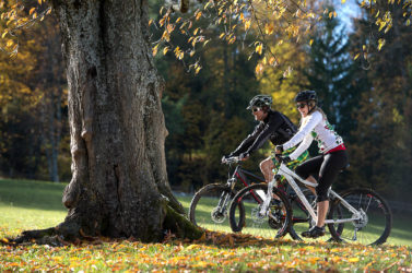 Mountain biking in autumn in South Tyrol